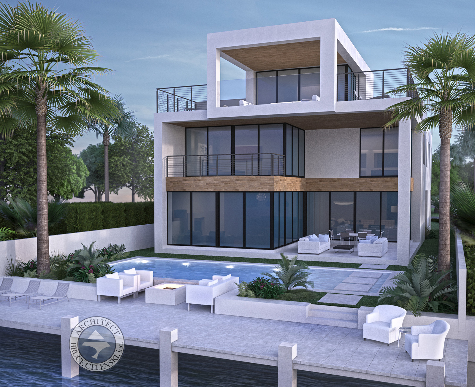 Fort Lauderdale architect luxury waterfront home rear view photo